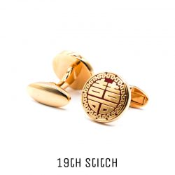 Round Happiness Gold Plated Cufflink