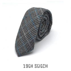 Knitted Grey with Blue Black White Plaid