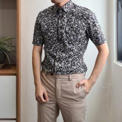 Black Floral Print Cotton Blend Custom Shirt