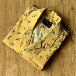 Mustard Floral Print Custom Shirt
