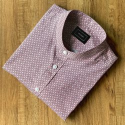 Red Textured Print Cotton Custom Shirt