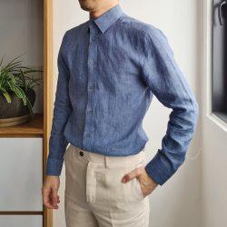 Denim Blue Linen Custom Shirt