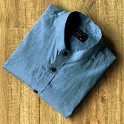 Blue Cotton Yarn Dye Custom Shirt