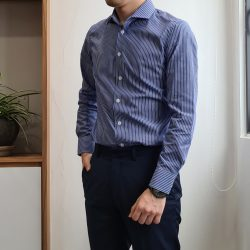 Blue Reverse Stripe Cotton Custom Shirt