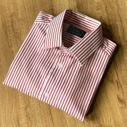 Red Bengal Stripe Cotton Blend Custom Shirt